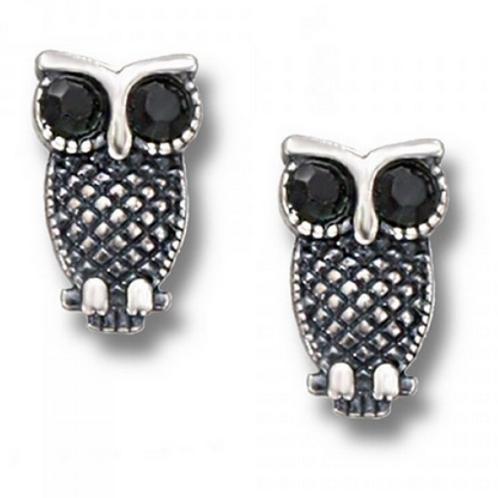 big eyed crystal owl studs
