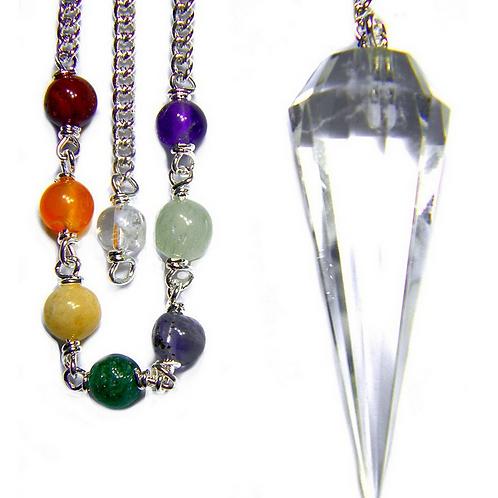 quartz + chakra pendulum