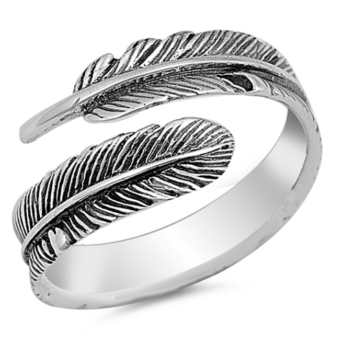 large feather wrap-around ring