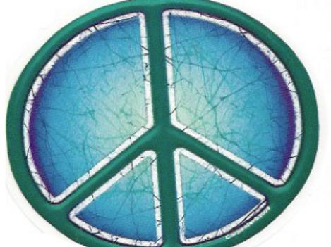 batik green + blue peace sticker