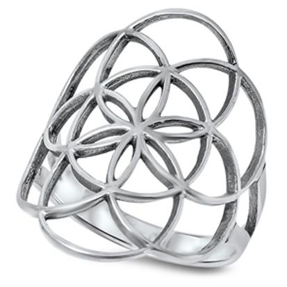open cut lotus mandala ring