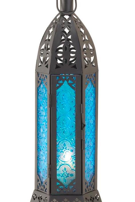 moroccan lantern | ocean blue tall