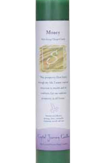 money - reiki energy charged candle