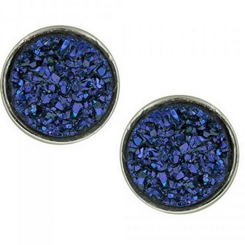 blue titanium drusy studs