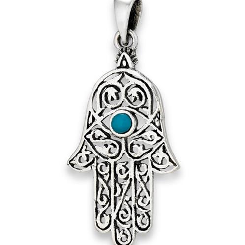 inspired series | hamsa + turquoise pendant