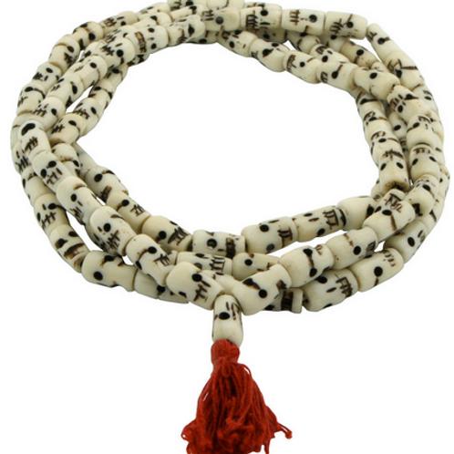handcarved bone skull malas