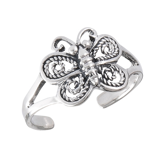 filagree butterfly toe ring