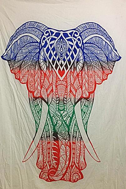tri color henna elephant