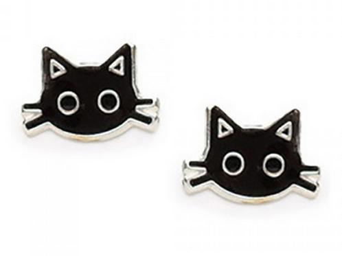 black cat face studs