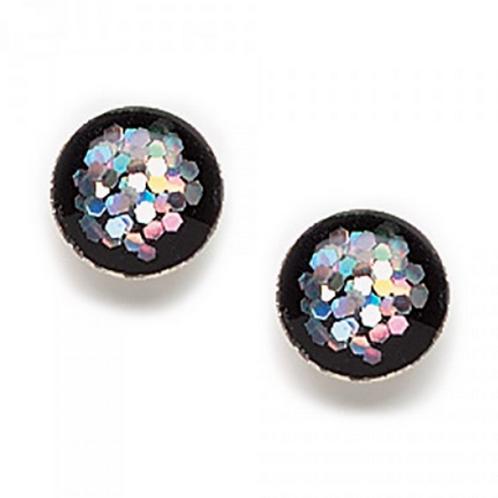 black acrylic glitter studs