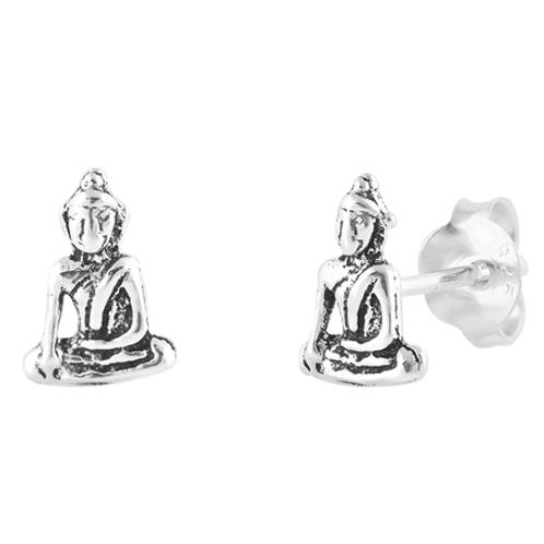 meditating buddha studs