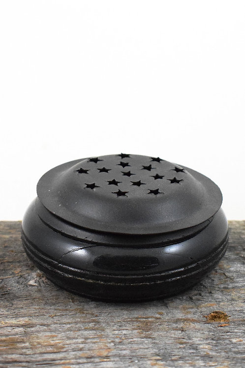 wood + metal black stars burner