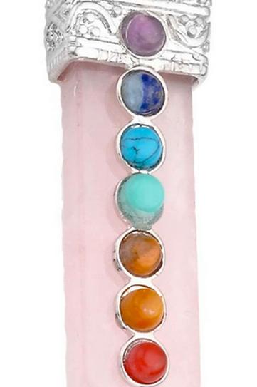 rose quartz + chakra pendant