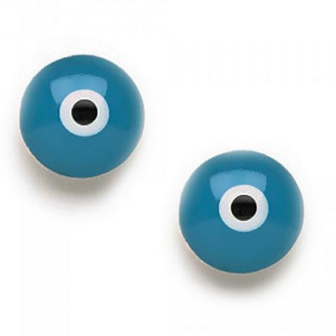 blue acrylic evil eye studs
