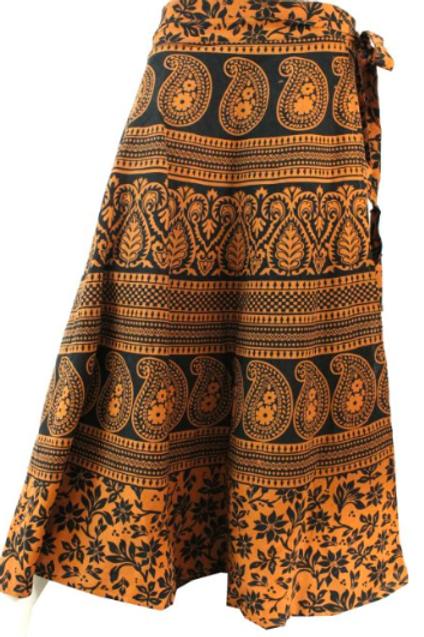 indian print wrap skirt