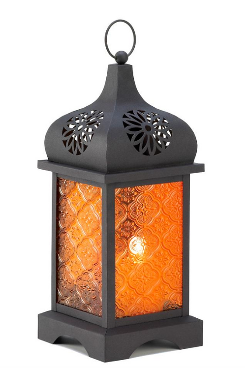 moroccan lantern | orange cut out flower