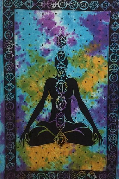 chakra yoga on tye dye