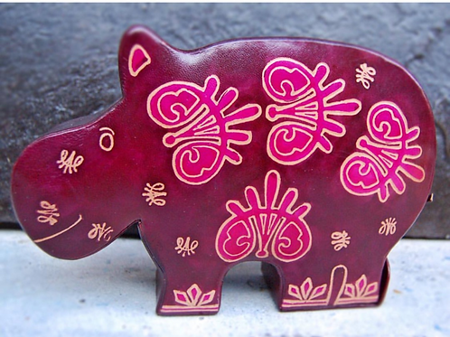 handcrafted leather hippo bank