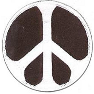 black white peace sign patch