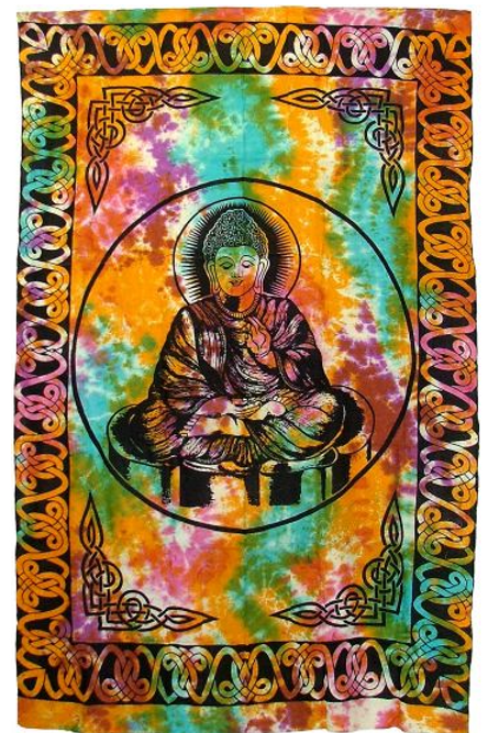 peaceful Buddha on tye dye