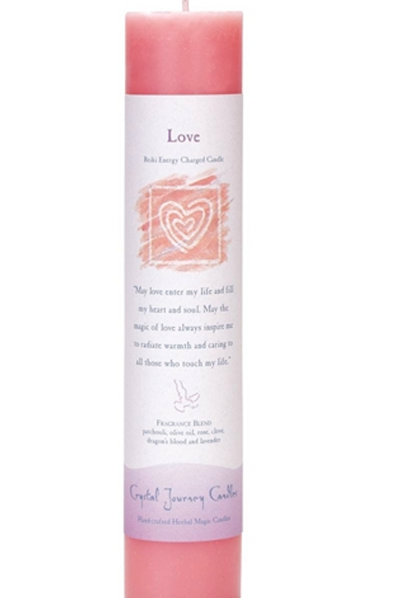 love - reiki energy charged candles