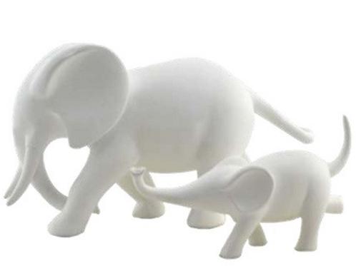 mama + baby elephant  | white
