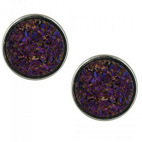 purple titamium drusy studs
