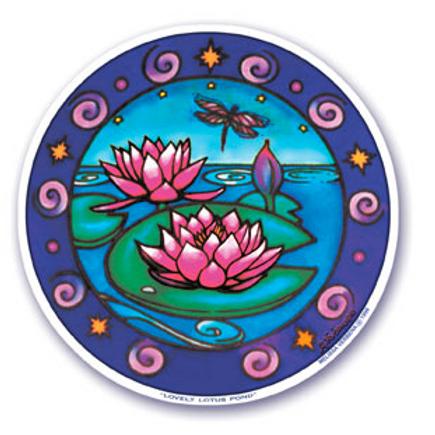 dragonfly   lotus sticker