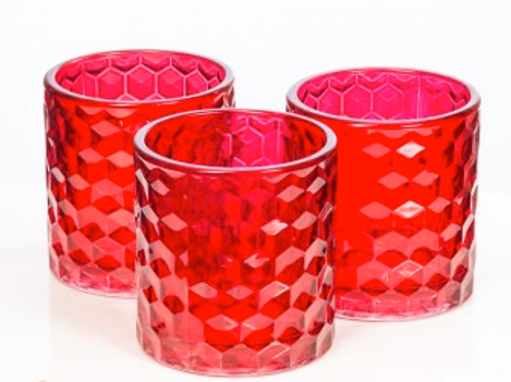 Chunky Honeycomb Votive Red