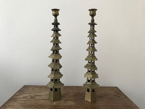Brass Pagoda Candlesticks