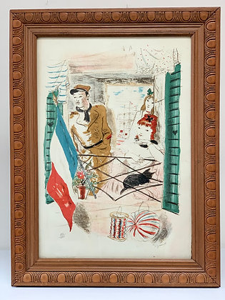 Framed Lithograph French, Signed Andre Dignimont