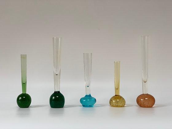 Five 1970s Bubble Stem Vases