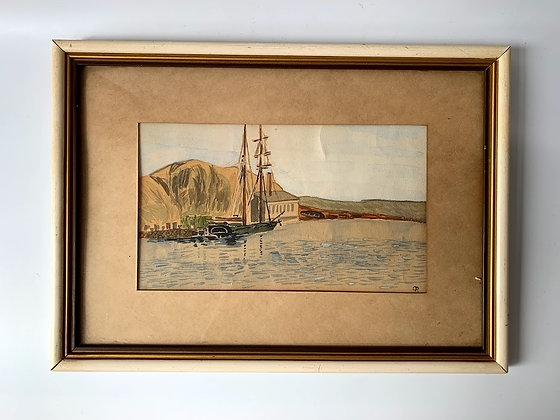Harbour Scene, Framed Watercolour, Mid-century
