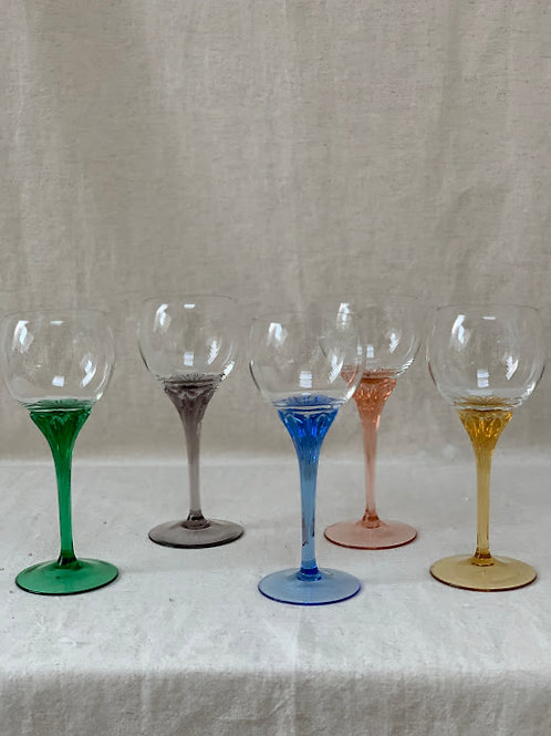 Set of Five Coloured Stem Wine Glasses.