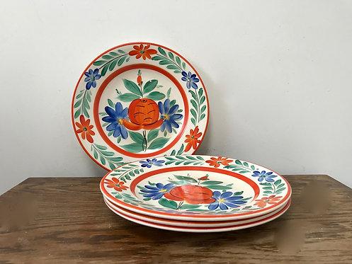 Set of 4 Vintage Czechoslovakian Pottery Hand Painted Dinner Plates LDBC