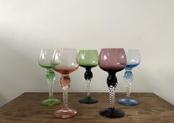 Vintage Coloured Wine Hock glasses with air twist stem
