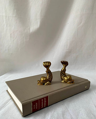 Two Vintage Brass Bookends