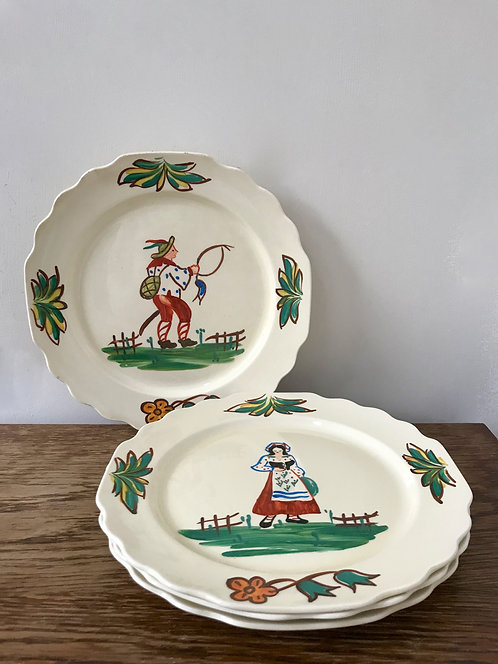 Set of Four Gorgeous Vintage Hand Painted Lido W.S George Canarytone Plates