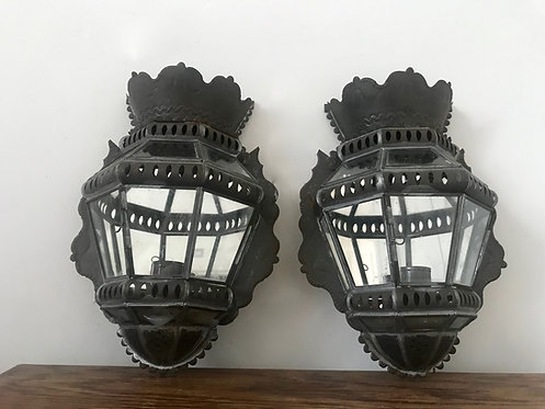 Pair of Vintage Mirrored Lanterns