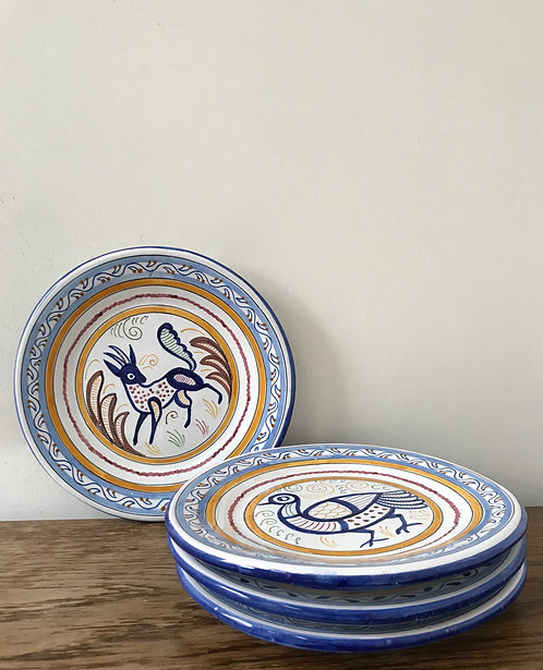 Set of 4 Spanish Hand Painted Plates
