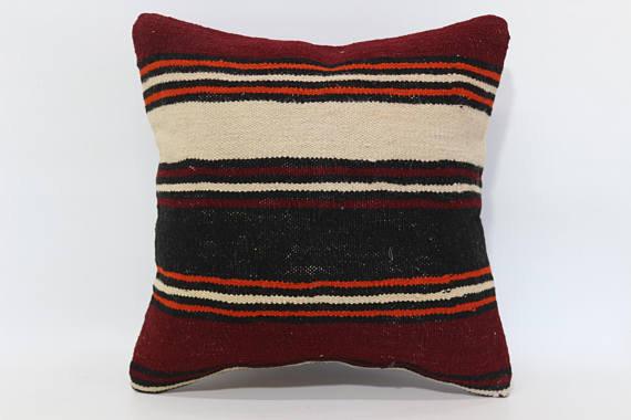 Burgundy Striped Cushion