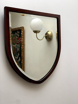 Antique Shield Shaped Mirror Mahogany Frame, Bevelled Mirror glass.