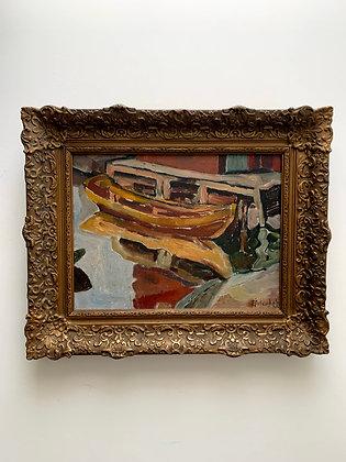 Tord Örtenholm 1908-1991, boat in the harbor, dated 1934