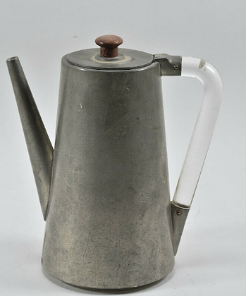 Art Deco pewter coffee pot with glass handle, USA around 1920