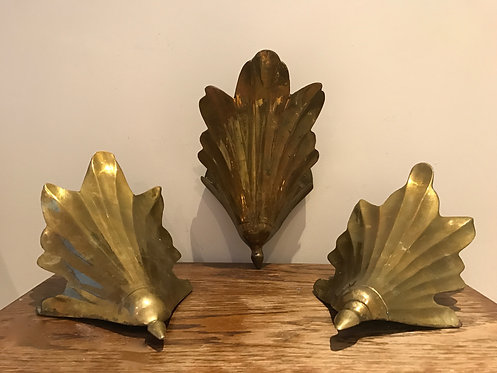A Set of Three Solid Brass Sconces