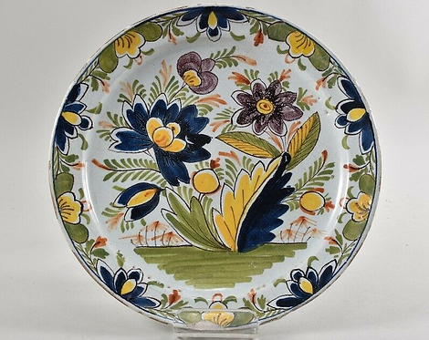 Faience plate with colourful decor, 19th Century