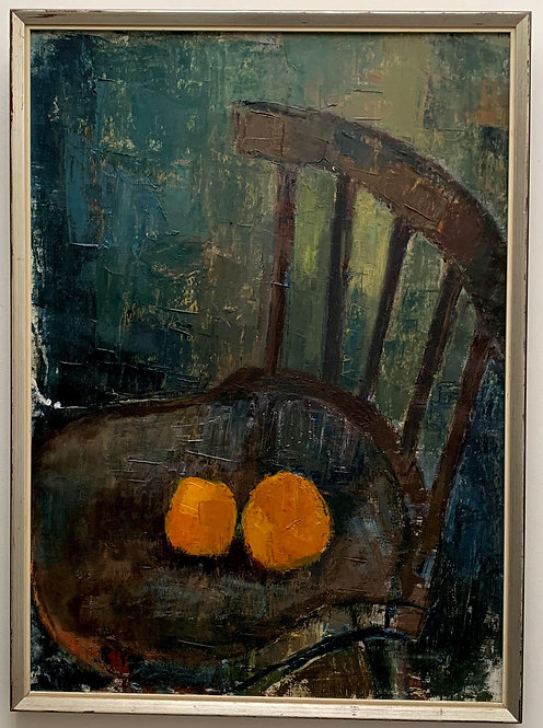 Still life with two oranges on a chair, illegibly signed, around 1960