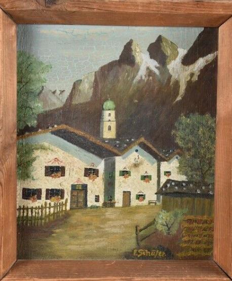 Painting, mountain village, sign. F. Shepherd