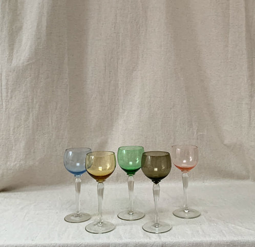 Set of Five Multi Coloured Glasses