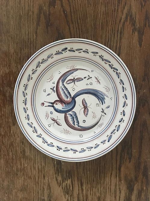 Vintage Original Outeiro Agueda Portugal Hand Set 12 Bird Plates PORTUGESE